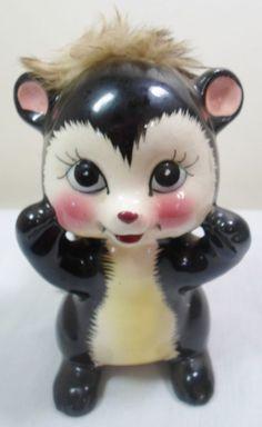 Vintage Mid Century Modern Ceramic Napco Furry Skunk Critter Piggy Bank Figurine