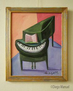 piano sonrisa, pintura con marco, de Diego Manuel