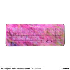 Bright pink floral abstract art for her wireless keyboard #GiftsForHer #GiftsForMom