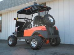 This custom 2005 Club Car Precedent is currently set up for offroad duty with lift kit, front brush guard, auxiliary lights, and ITP Mud Light tires. This would probably be great in the snow too! See more at: http://www.powerequipmentsolutions.com/products-a-services/online-store/used-golf-carts/club-car-golf-carts/2005-club-car-precedent-custom-gas-golf-car-orange.html  #ClubCar #Precedent #customgolfcar #orange #liftedgolfcar #offroad #PES #Vandalia