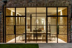 Crittal doors and exposed brickwork with a contemporary kitchen House Extension Design, Glass Extension, Rear Extension, Extension Ideas, Crittall Extension, House Design, Steel Frame Doors, Steel Doors And Windows, Crittal Doors