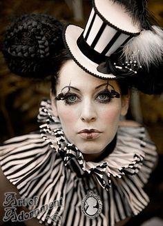 Harlequin Medallion Cameo Pendant Necklace and harlequin Cabaret Stripe Satin Mini Top Hat by Art of Adornment. Available at http://www.artofadornment.ca (Photo: Nina Pak, Model: La Avery, MUA: Kat Morris)