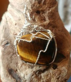 Wire Pendant, Wire Wrapped Pendant, Stone Pendants, Tigers, Wire Wrapping, My Etsy Shop, Handmade Jewelry, Eyes, Awesome