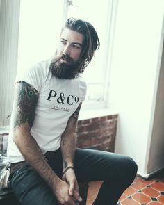Lane Toran - full thick dark beard mustache beards bearded man men mens' style tattoos tattooed long hair handsome #beardsforever