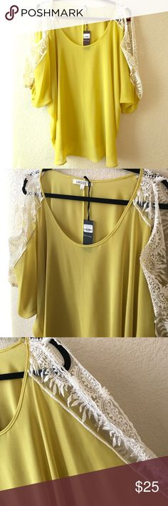 UMGEE Sheer Mustard & Crochet Cold Shoulder Top New with tags - very flattering and comfy top ❤️ UMGEE Tops Blouses