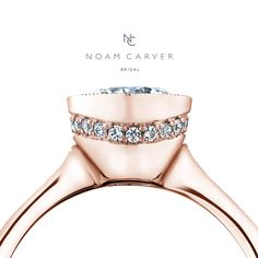 Make her blush with this compelling beauty by Noam Carver. Noam Carver rose gold engagement ring.