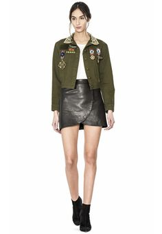 CHLOE EMBROIDERED CROPPED JACKET W PINS by Alice + Olivia