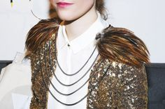 Shoulder feathers. Gold sequin jecket. White Silk Blouse. At Fitzroy Boutique #giftguide