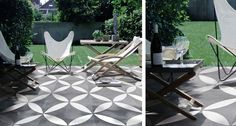 outdoor-ceramic tile patio-flowr-white-black-gardenista