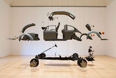 Damian Ortega, in Cosmic Thing one of his most celebrated works disassembled a Volkswagen Beetle car and re-composed it piece by. Damian Ortega, Statues, Plakat Design, Vw Vintage, Mexican Artists, Buggy, Vw Beetles, Vw Camper, Installation Art