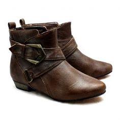 Ladies Brown low heel / flat buckle detail ankle boots NEW *