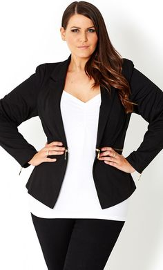 CITY CHIC - ZIP WAIST JACKET - Women's plus size fashion