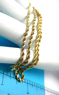 """Vintage Estate 14k Yellow Gold Rope Chain 18"""" Necklace 8.6gr #Unbranded #Chain"""
