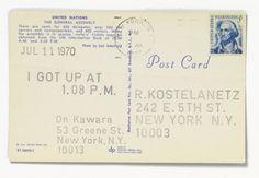 detail • i got up . . . , 1970 • ink and stamps on postcards • on kawara