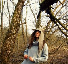 Wolf Headdress Wolf Hood Woolen Hood Wolf Hat Wolf by FeltYourself