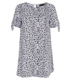 Nice Blue Ditsy Floral Print Tie Sleeve Tunic Top Check more at http://www.fiftyshadestores.com/shop/womens/blue-ditsy-floral-print-tie-sleeve-tunic-top-3/