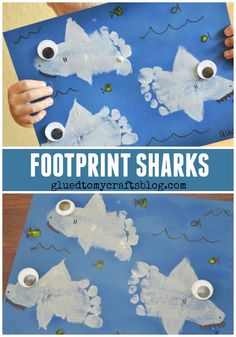 Footprint Sharks Keepsake - Shark Week Kid Craft - Footprint Sharks Keepsake – Kid Craft The best image about diy for your taste You are looking - Sea Crafts, Glue Crafts, Baby Crafts, Stick Crafts, Seashell Crafts, Sewing Crafts, Shark Week Crafts, Shark Craft, Dinosaur Crafts