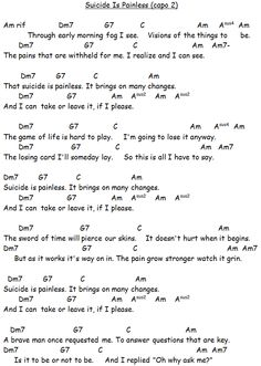 Chords Used: Suicide Is Painless - The Theme From MASH Song Sheet: If you have found this video/songsheet useful please consider making a small donation via Ukulele Chords Songs, Lyrics And Chords, Guitar Songs, Song Lyrics, Song Sheet, Sheet Music, Music Music, Guitar Chord Chart, Lead Sheet