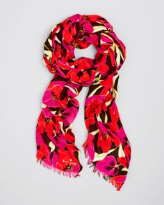 Kate Spade Rio Tropical Floral Scarf in pink and orange.
