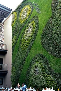 Mexico City vertical garden in restaurant, plus fantastic bike parking space…