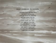 Missing husband  in Heaven Quotes | DEAR HUSBAND IN HEAVEN MEMORIAL POEM PRINT PERSONALIZED