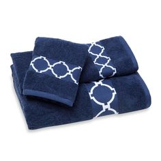 Jill Rosenwald Hampton Links Bath Towel Collection in Navy/White