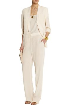 Cream mid-weight silk crepe de chine Split cuffs, breast pocket, two front patch pockets, back vents, partially lined Button fastening at front 100% silk; lining: 84% polyester, 16% silk Dry clean Designer color: Linen