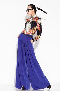 2013 de primavera de la mujer con pliegues pantalones de pierna ancha pantalones de moda los pantalones de