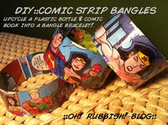 Upcycled Repurposed Comic Book & Plastic Bottle Bracelet :: DIY :: Comic Strip Bangles :: How To :: - Upcycled Crafts, Recycled Art, Repurposed, Recycled Furniture, Handmade Crafts, Comic Book Crafts, Comic Books, Plastic Bottle Crafts, Plastic Bottles