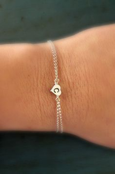Personalized Sterling Silver Heart Initial Bracelet Graduation Gift Bridesmaid jewelry Flower girl gift on Etsy, $21.50