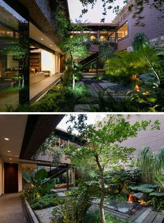 Next to the main living area in this modern house is an internal courtyard, filled with plants and a water feature.