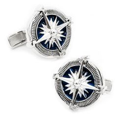 Sterling Blue Nautical Compass Cufflinks | Cufflinks.com