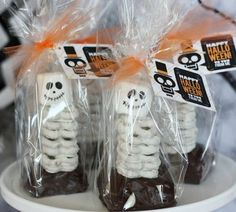 Skeleton party favors halloween pretzels snacks party ideas party favors halloween food ideas