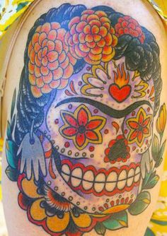 Mexican Sugar Skull With Flowers Tattoo Design