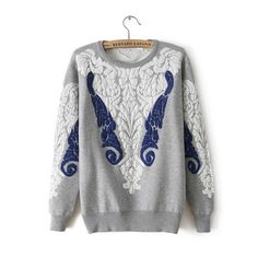 Printed round neck long-sleeved sweater AX112008ax