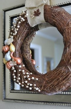 Metallic Gourd Wreath Fall Tutorial: All the supplies are from Dollar Tree and Walmart (super cheap!)