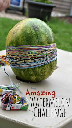 This watermelon rubber band activity is an epic science experiment for kids of all ages Balloon Science Experiments, Science Week, Summer Science, Preschool Science, Science Fair, Science For Kids, Science Activities, Science Projects, Science Education