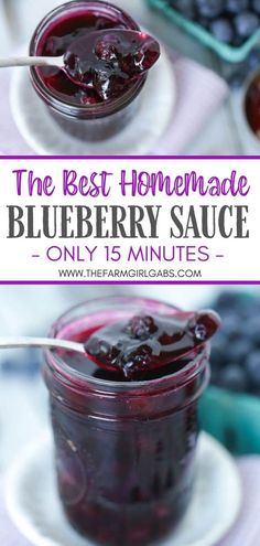 This best Homemade Blueberry Sauce recipe is the perfect topping for ice cream and pancakes as well as many other desserts. This easy blueberry recipe takes just 15 minutes to make. Blueberry Sauce, Blueberry Recipes, Fruit Recipes, Sauce Recipes, Sweet Recipes, Dessert Recipes, Pureed Recipes, Breakfast Recipes, Easy No Bake Desserts