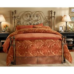 Alhambra Open Toe Return Post Iron Bed by Wesley Allen - Aged Brass Finish