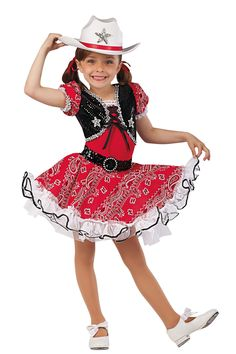 15184 Little Buckaroo | Kids Showcase / First Performance / Dance Costumes / Recital Wear | Dansco 2015 | Red spandex and black sequined velvet leotard with red printed cotton sleeves. Attached matching skirt with white chiffon ruffles and underskirt. Separate black sequin belt. Rhinestone buckle, silver sequin braid, sequin star applique, black sequin and white lace trim. Headpiece and ribbon for hair and lacing included.