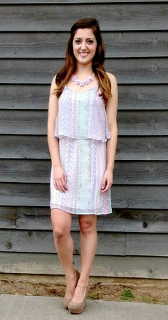DRESSES  |  EVERLY Layered Tank Dress - Pink/Lilac | www.ellieandbea.com | Only $42 and FREE SHIPPING!