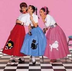 Retro Fashion How to Make a Poodle Skirt - A poodle skirt is a wide swing skirt made of felt, which has a design appliqued or ironed on. The skirt is usually black, pink, or powder blue. The design is frequently a French poodle. Estilo Pin Up, Estilo Rock, Rock And Roll Vestuario, Disfraz Rock And Roll, Mode Vintage, Retro Vintage, Vintage Sewing, 1950s Fashion, Vintage Fashion
