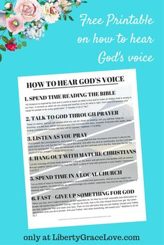FREE PRINTABLE on how to hear God's voice. only at LibertyGraceLove.com- exclusive PDF download for email subscribers. Free Bible study for small groups or Sunday School on prayer, reading the Bible, Christian life, going to church, and fasting. Great for baby Christians or for discipleship.