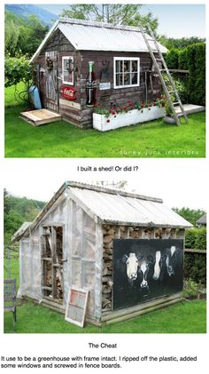from greenhouse to rustic garden shed, via Funky Junk Interiors - Rustic Garden Decor Funky Junk Interiors, Rustic Garden Decor, Rustic Gardens, Garden Pool, Glass Garden, Garden Sheds, Garden Fun, Garden Shed Interiors, Greenhouse Interiors