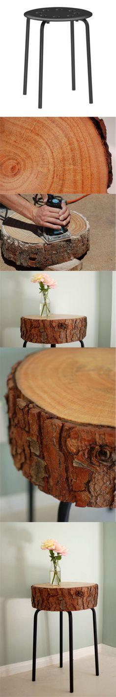 Mesita con un tronco y un taburete de ikea | Muy Ingenioso muyingenioso.com