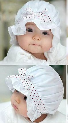Easter Baby Bonnet, Sun Hat, Fits 2 to12M White with Red Polka Dot Ribbon Lace New Batch! on Etsy, $9.99