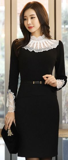 StyleOnme_Front Flap Slim Line Pencil Skirt #black #pencilskirt #koreanfashion #kstyle #kfashion #chic #wintertrend #seoul