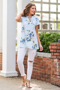 """Petals Fall Top, Light Blue""We literally can't keep this print in stock! It sells out in every style we find it in! #newarrival #shopthemint"