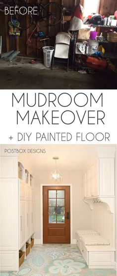 FREE Mudroom Locker Building Plans by Postbox Designs E-Design + FREE GUIDE: 10 Steps to the Perfect Mudroom Locker. Mudroom Makeover Reveal with DIY Painted Floors, Mudroom Lockers and Command Center