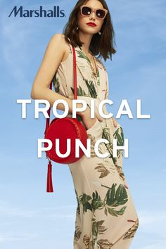 A palm print romper will turn up the heat. Adding a bold coloured bag and a cool pair of sunglasses will make your summer look the hottest one in town. Visit Marshalls for more women's trends.
